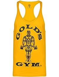 Golds Gym Herren Training Top Achselshirt Muskelshirt Aermellos Shirt Tanktop Gold Pln UK Large