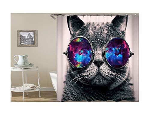 Abellale Badewanne Duschvorhang Brille Katze Vintage Duschvorhang Bunt 150x180CM