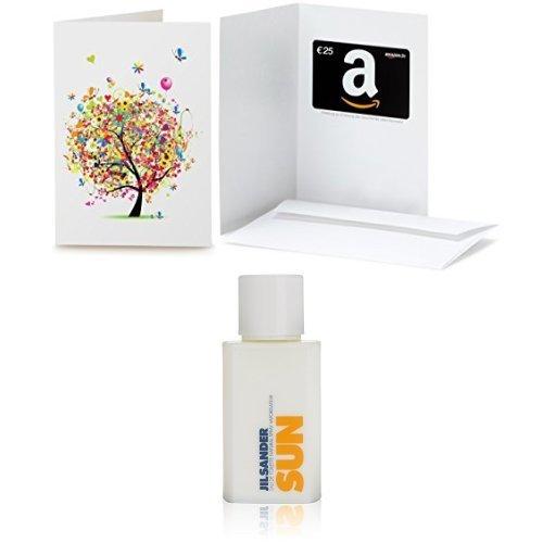 Amazon.de Grußkarte mit Geschenkgutschein - 25 EUR + Jil Sander SUN femme, Eau de Toilette, 1er Pack (1 x 75 ml)