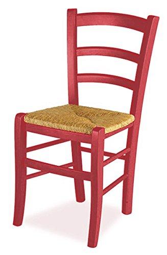 Set 2 sedie venezia - anilina rossa sedile paglia