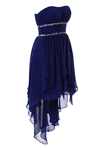 YiYaDawn Asymmetrische Ballkleid Abendkleid Vokuhila Kleid für Damen Purpur
