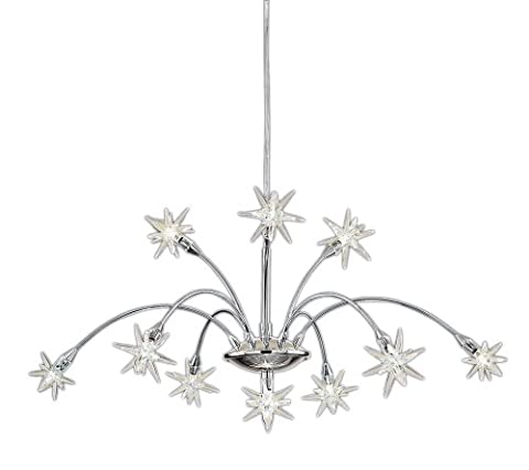 Stars Adjustable 10 Light Chrome Finish With Glass Shades 10X10 Watt Halogen Lamps