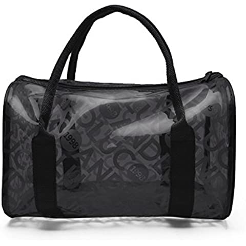 TININNA Moda y Simple bolso de mano, Impermeable Transparentes Bolsa de Mano, Bolso de Playa del PVC y Poliéster con el Bolso Cosmético