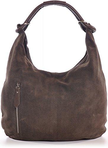 CNTMP Damen Schultertasche Leder, Hobo-Bag, Leder Handtasche Damen, Beuteltasche Wildleder, Leder-Tasche DIN-A4, 44x36x4cm (B x H x T), Farbe:Braun (Dunkelbraun)