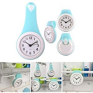 MRKE Wanduhr Wasserdicht, Geräuschelose Nicht Tickende Wanduhr Badezimmer Badezimmeruhr Uhrzeit Uhr mit Saugnapf, Blau