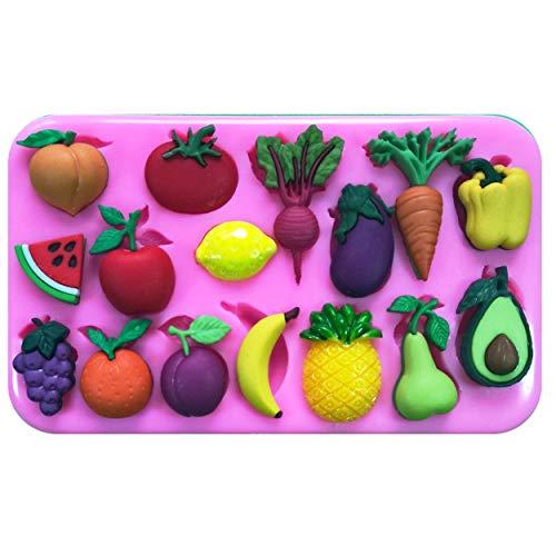 ikonform für Kuchendekoration, Motiv: Orange, Banane, Ananas, Wassermelone, Rettich, Aubergine, Karotte, Paprika, für Kuchendekoration ()