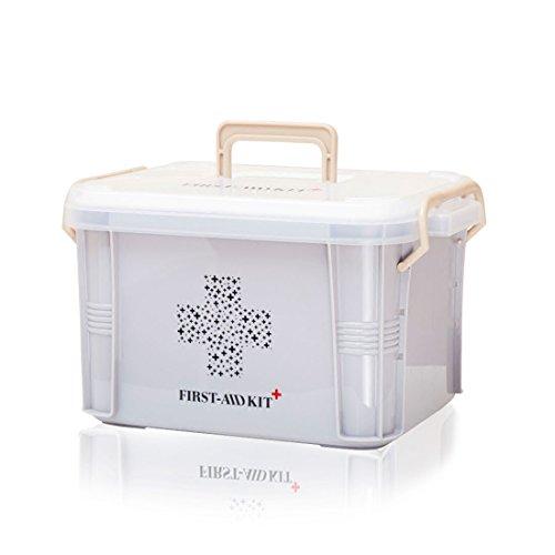 Levoberg Medizinbox abschließbar Grau | Erste Hilfe-Aufbewahrungskasten mit getrennten Fächer | Erste Hilfe Box aus PP mit Tragegriff | 33,5 * 23,5 * 20cm
