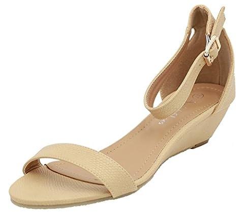 AgeeMi Shoes Femmes Sandales à Coin Ouvertes Bout Slingbacks Heel Chaussures,EuL01 Abricot 38