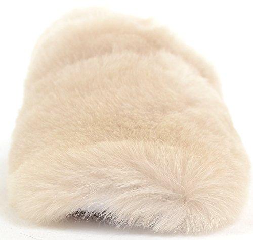 Mesdames/Femme Luxe Doux Antidérapant Chaussons sur peau de mouton Beige - beige