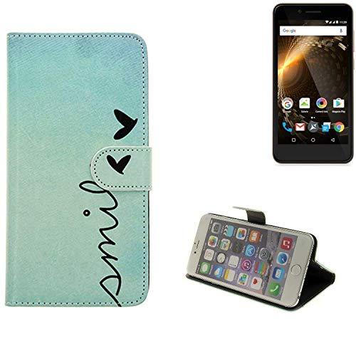 K-S-Trade Für Allview P6 Energy Mini Hülle Wallet Case Schutzhülle Flip Cover Tasche bookstyle Etui Handyhülle ''Smile'' türkis Standfunktion Kameraschutz (1Stk)