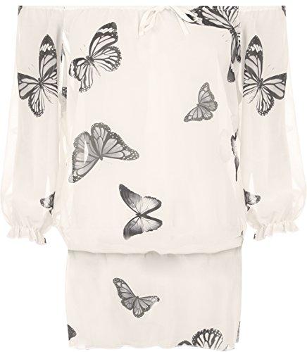 WEARALL Damen Übergröße Schmetterling Druck Chiffon Weg Schulter Zigeuner Boho Pur Damen Top - Creme - 50-52 (Aus Schulter-bluse Seide)