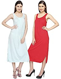 c5edea8005d Valentine Women's Cotton Long Slips Full Length Camisole - Combo Set of 2