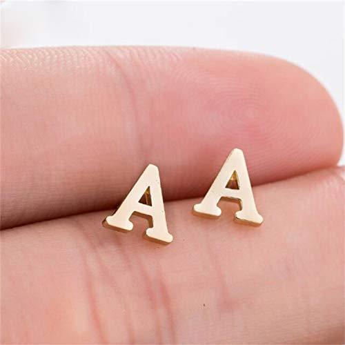 Daawqee Pendientes Para Mujer, A-Z Alphabet Earrings In Stud Earrings Tiny Lovely Alphabat Letter Earrings For Women Girls Kids Personalized Jewelry Gold Color earrings-T