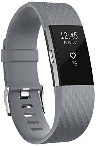Für Fitbit Charge 2 Armband, HUMENN Charge 2 Bänder 3D Stil Weiches Silikon Sports Ersetzerband Fitness Verstellbares Uhrenarmband für Fitbit Charge2 Large Grau
