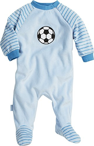 Playshoes Unisex Baby Schlafstrampler Schlafanzug Schlafoverall Nicki Fußball, Gr. 74, Blau (original 900)