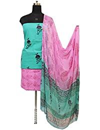 Gleamberry Women's Multicolour (Turquoise and Pink) Block Print Cotton Dress Material Set
