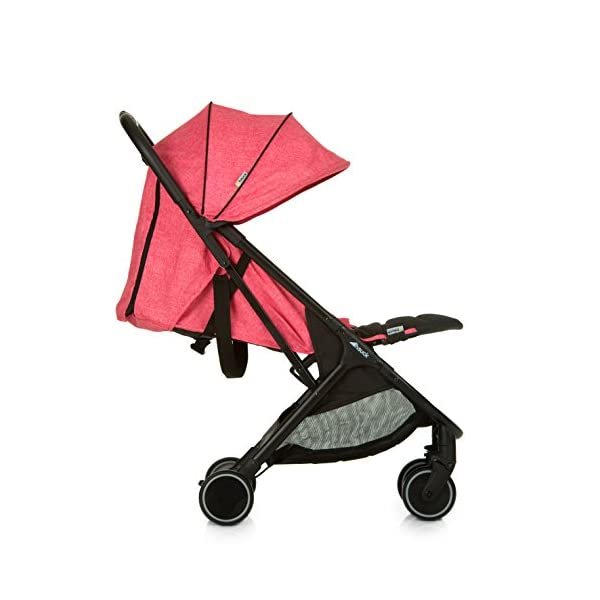Hauck Swift One Hand, Compact Fold Pushchair with Raincover, Melange Pink/Black Hauck A sporty stroller with one-hand folding mechanism The comfortable seat has an adjustable backrest and adjustable footrest down to lying position - ideal even for newborns Lightweight aluminium frame - only 6.4kg 4
