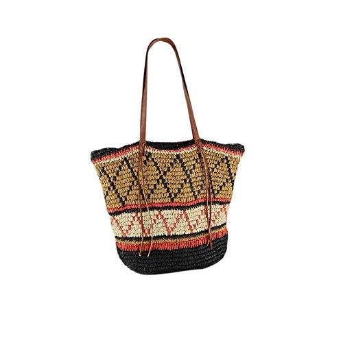 High Fashion Tote Handtasche (Navigatee Geometrische Muster Stroh Tasche Strandtasche Reisen Urlaub Tasche Schultertasche Mode Handtasche Handmade Woven Totes Fashion High Cacity Tasche für Frauen)