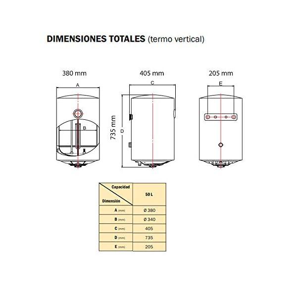 HTW – Termo Eléctrico 50 litros Essential – Tanque Acero Esmaltado Zafiro – 5 Años Garantía