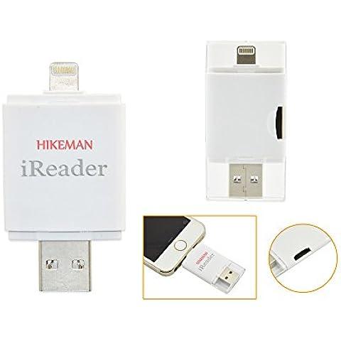 HIKEMAN iReader i-FlashDrive HD Micro SD Memory Stick añadiralmacenamiento extra para tu iPhone/iPad más fácil de guardar fotos/Videos para iPhone 5S/6/6S/6Plus/6S