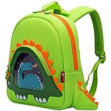 OFUN-Hierba-verde dinosaurio mochila impermeable super luz-peso niño mochila camping almuerzo