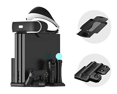 ElecGear Playstation Vertikaler Standfuß PSVR Headset vertikal Ständer Halterung, Lüfter Kühler, ladestation ladegerät Charger mit PS VR Brille Stand für DualShock, Move Controller, PS4, Pro, Slim
