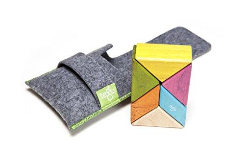 6 Stück Tegu Taschenbeutel Prisma Magnetisches Bausteine - Farbig (Magnetische Holz Bausteine)