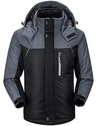 WE&ZHEEsquí chaqueta espesa caliente transpirable laminado de los hombres por la chaqueta de montaña de invierno y otoño caliente HoodieWaterproof de algodón , black , xxxl