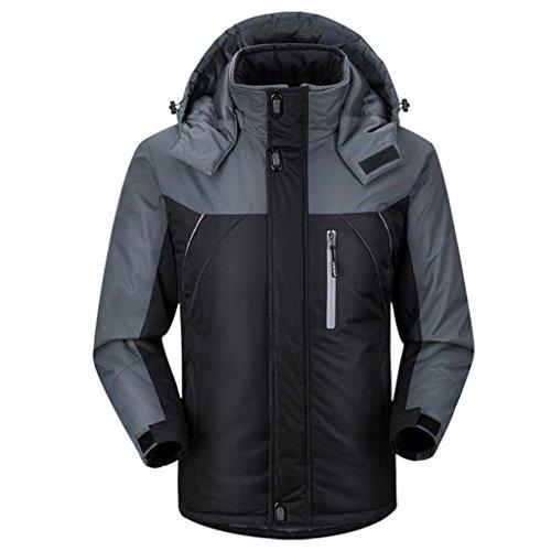 HHORD Ski Jacket épaissi Chaud Respirant laminé Masculine HoodieWaterproof Automne Chaud et Alpinisme Hivernal Doudoune Coton, XXL