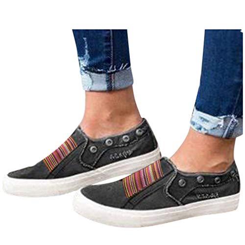 Low Übergrößen Sportschuhe für Damen/Dorical Frauen Slip on Canvas Sneakers, Casual Turnschuhe, Bequeme Outdoor Fitnessschuhe, Leichte Halbschuher Damenschuhe 35-43 EU Ausverkauf(Schwarz,37 EU)