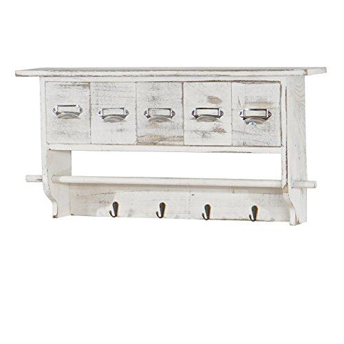 Mendler Garderobe HWC-C49, Wandgarderobe Wandregal, Vintage mit 5 Schubladen 32x65x13cm ~ Shabby Look, weiß - Weiß Mit Fünf Schubladen