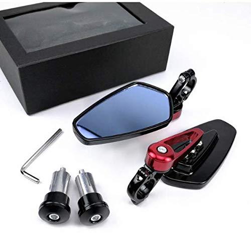 Wooya Espejo Retrovisor De La Motocicleta Retro Espejo Retrovisor Modificado Espejo Espejo Retrovisor Espejo-Rojo