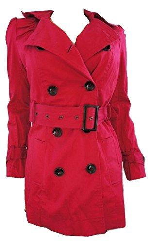 Fuchsia Rosa Gürtel Button Up Coat Rose