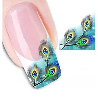 Blue Bridge 3D Nail Decals Peacock Nail Art Sticker Flower Bird DIY Manicure Decal Adhesive Transfer Sticker
