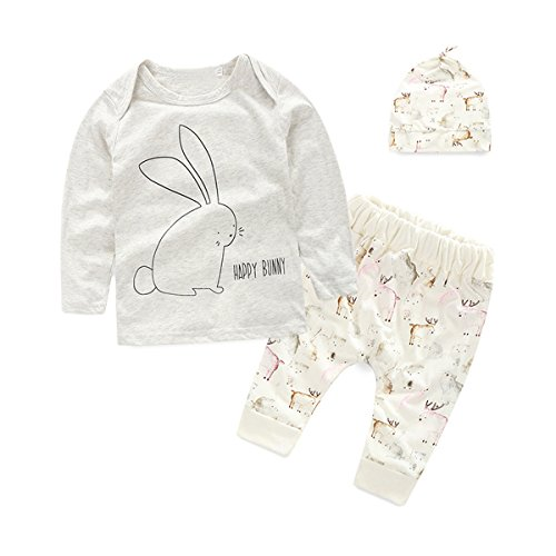 puseky Neugeborene Kids Baby Bunny Lange Ärmel T-Shirt Tops + Pants + Hat Outfit Kleidung (Bunny Outfit Für Baby)