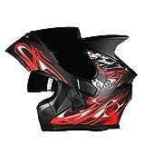 JiaoLiao Helm Helm Motorrad Outdoor Riding Bluetooth Headset Schwarz Anti-Fog-Spiegel Full Face Helm Schwarz Red Devil Corner (Farbe : Black red Devil, größe : M)