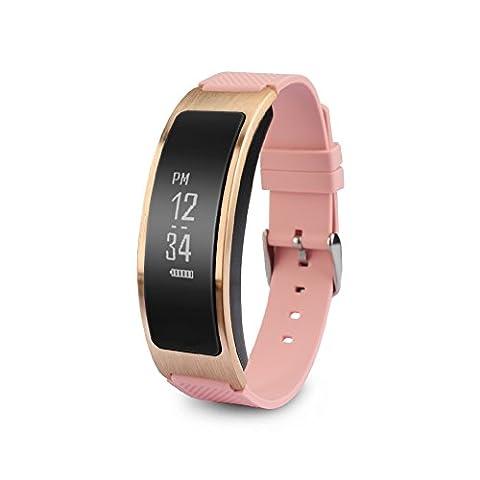 Fitness Tracker, chinatmax Herzfrequenzmessung Smart Armband Activity Tracker Fitness Gesundheit Blut Druck montoringsmartwatch Armband Bluetooth Schrittzähler, Kalorienverbrauch für Android und IOS Smartphones, rose
