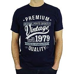 1979 Vintage Year - Aged to Perfection - 40 Ans Anniversaire Homme Cadeaux T-Shirt Marine Bleu L