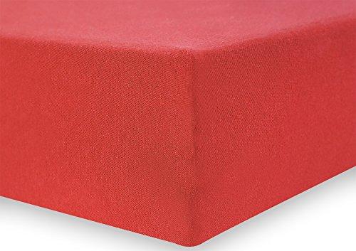 DecoKing 18033 80x200-90x200 cm Spannbettlaken rot 100% Baumwolle Jersey Boxspringbett Spannbetttuch Bettlaken Betttuch Red Amber Collection - 4
