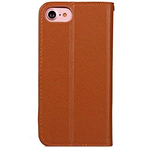 iPhone Case Cover Couleur solide Litchi Grain modèle portefeuille Stand Housse en cuir souple TPU pour Apple IPhone 7 ( Color : Blue , Size : IPhone 7 ) Brown