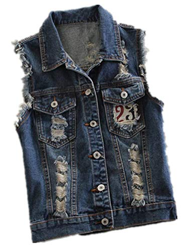 Damen Jeansweste Elegant Casual Ärmellos Jeansjacken Vintage Jungen Mode Zerrissen Distressed Revers Denim Jacket Outerwear Mantel Frühling Sommer Women (Color : Blau3002, Size : S) Distressed Denim Jacket