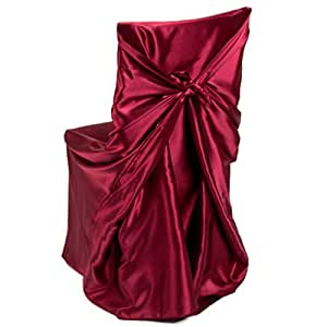 LinenTablecloth Satin Universal Chair Cover Burgundy by LinenTablecloth