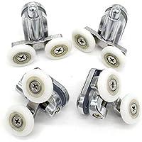 Shower Door Fixing Pulleys in Chrome - 2X Top & 2X Bottom - Fits Glass 4-6mm