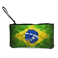 TTmom Women Canvas Coin Purse, Flag of Brazil E Canvas Change Coin Purse Small Cute Wallet Bag with Zipper