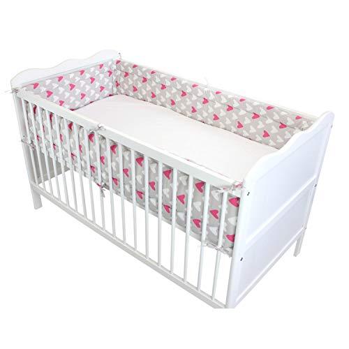 TupTam Baby Nestchen für Babybett Gemustert, Farbe: Herzen 2 Rosa, Größe: 420x30cm (für Babybett 140x70)