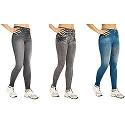 SLIM JEGGINGS - Leggings vaqueros efecto remodelador, diseño con bolsillos (3 unidades), color negro, gris y azul