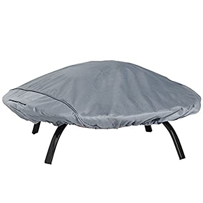 VonHaus Waterproof Garden Firepit and Barbecue Covers - 'The Storm Collection' Premium Heavy Duty Breathable Fabric Protection for Patio & Outdoor Furniture - Slate Grey