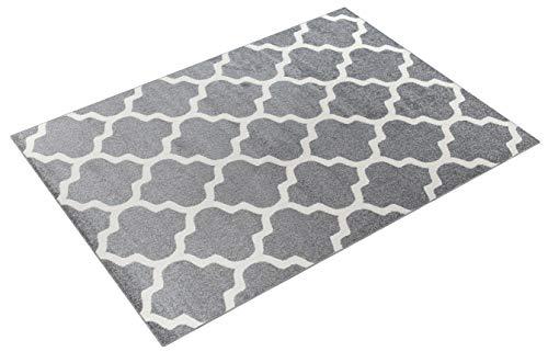 We Love Rugs - Carpeto Orientalisches Marokkanisches Teppich - Flor Modern Designer Muster - Wohnzimmer Schlafzimmer Esszimmer - Hell Grau Weiß - 240 x 330 cm