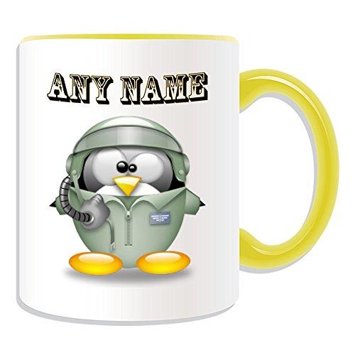 Personalisiertes Geschenk-Aviator Tasse (Pinguin in Kostüm Design Thema, Farbe Optionen)-alle Nachricht/Name auf Ihre einzigartige-Air Force Pilot, keramik, gelb (Kostüm Aviator Baby)
