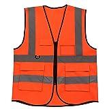 SmartRICH Gilet Riflettente, Gilet di Sicurezza ad Alta visibilità con Multi Tasche (Arancia)